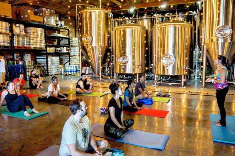Downward Grog Brewery Yoga