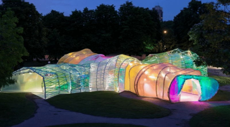 A Giant, Rainbow-Lit Pavilion Just Opened At The La Brea Tar Pits