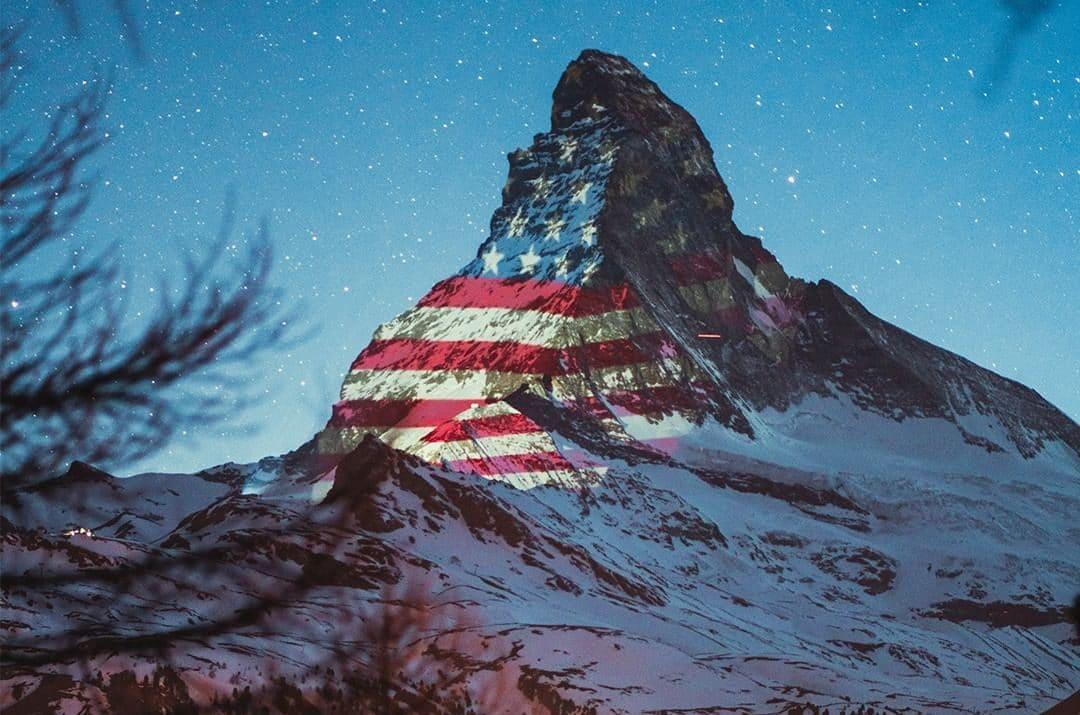 swiss alps flags